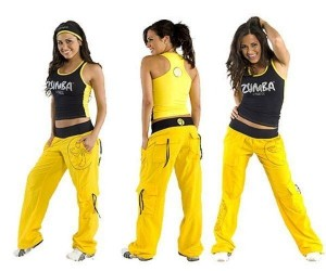 women wearing yellow zumba clothes